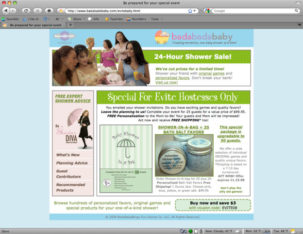 Baby Shower Store Landing Page